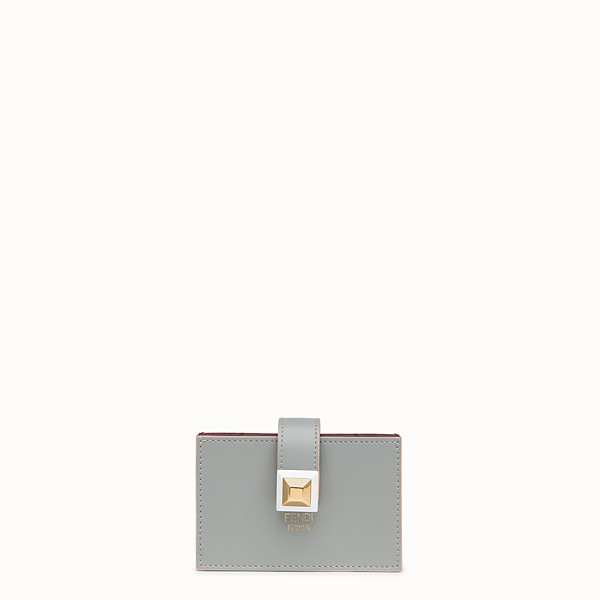 FENDI CARD HOLDER - Grey leather gusseted card holder - view 1 small thumbnail