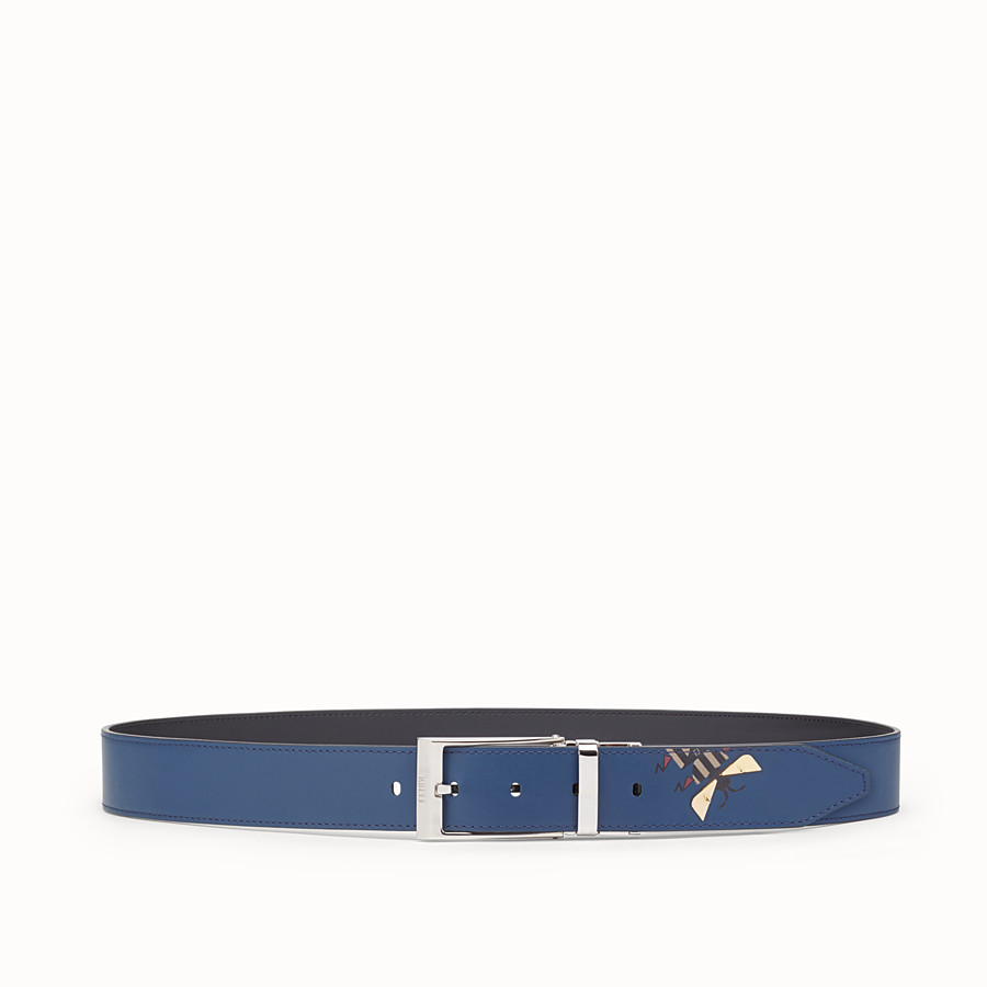 FENDI BELT - Dark blue and black leather belt - view 1 detail