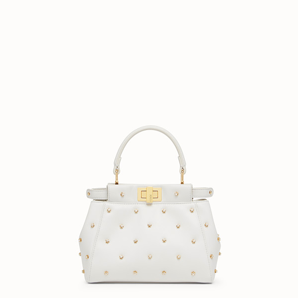 FENDI PEEKABOO XS - White leather mini-bag - view 1 small thumbnail