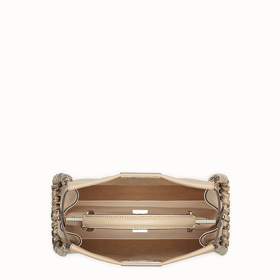 FENDI PEEKABOO REGULAR - Beige leather bag with exotic details - view 4 detail