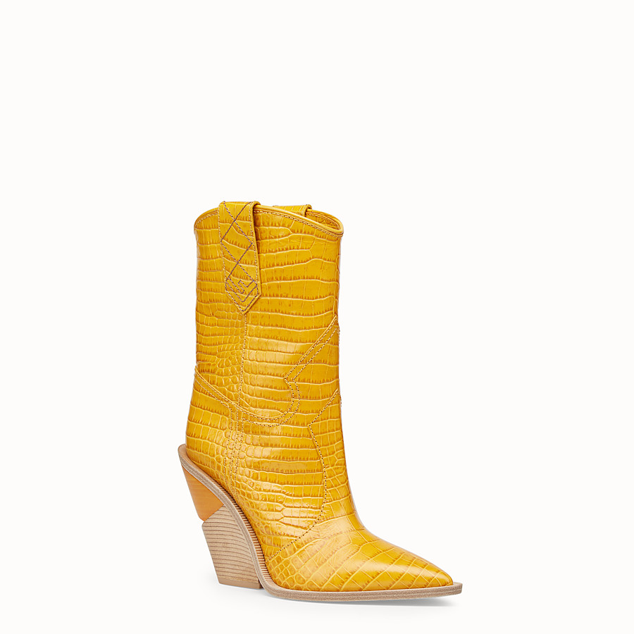 FENDI BOOTS - Yellow crocodile-embossed ankle boots - view 2 detail
