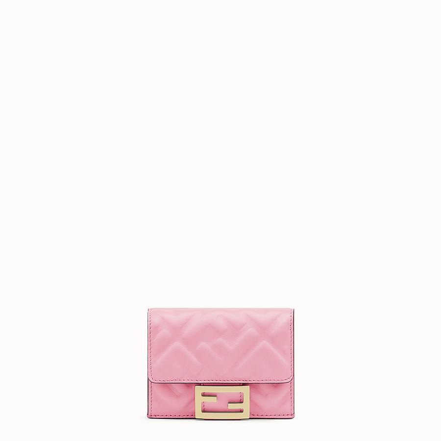 FENDI MICRO TRIFOLD - Portemonnaie aus rosafarbenem Nappaleder - view 1 detail
