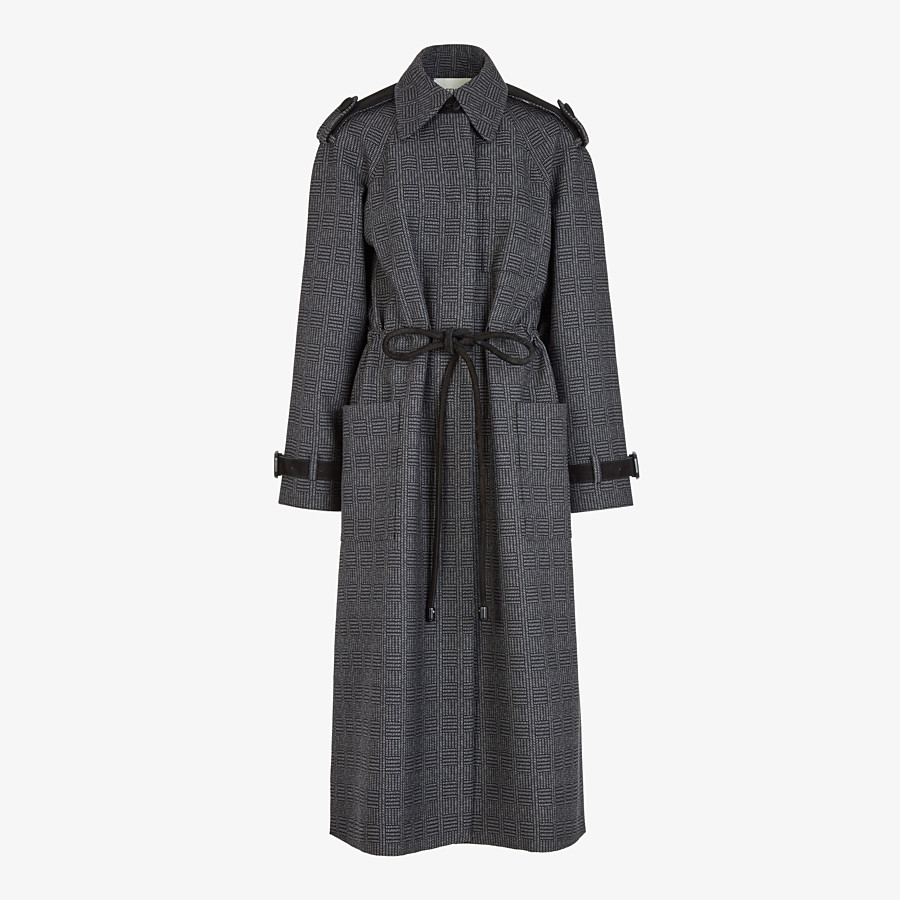 FENDI OVERCOAT - Gray wool trench coat - view 1 detail