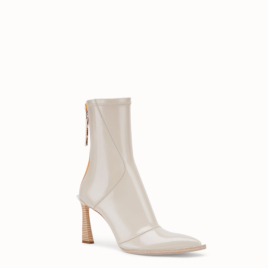 FENDI BOOTS - Glossy gray neoprene ankle boots - view 2 detail