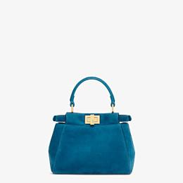FENDI PEEKABOO ICONIC XS - Mini-Tasche aus blauem Veloursleder - view 4 thumbnail