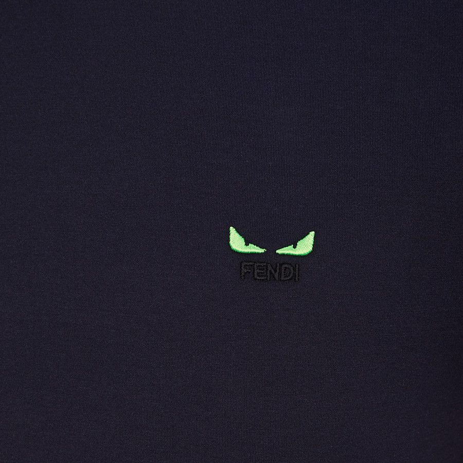 FENDI T-SHIRT - Blue cotton jersey T-shirt - view 3 detail