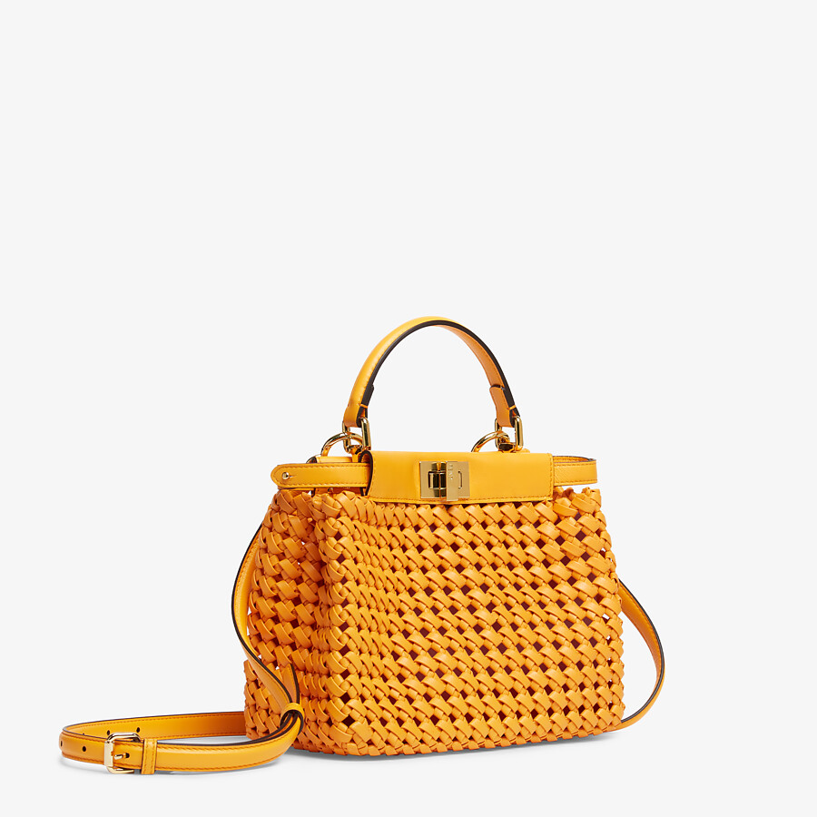 FENDI PEEKABOO ICONIC MINI - Orange braided leather bag - view 2 detail