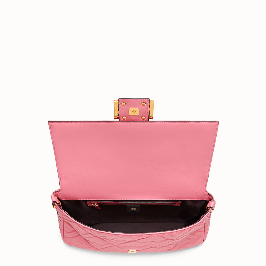 FENDI BAGUETTE LARGE - Pink leather bag - view 4 detail