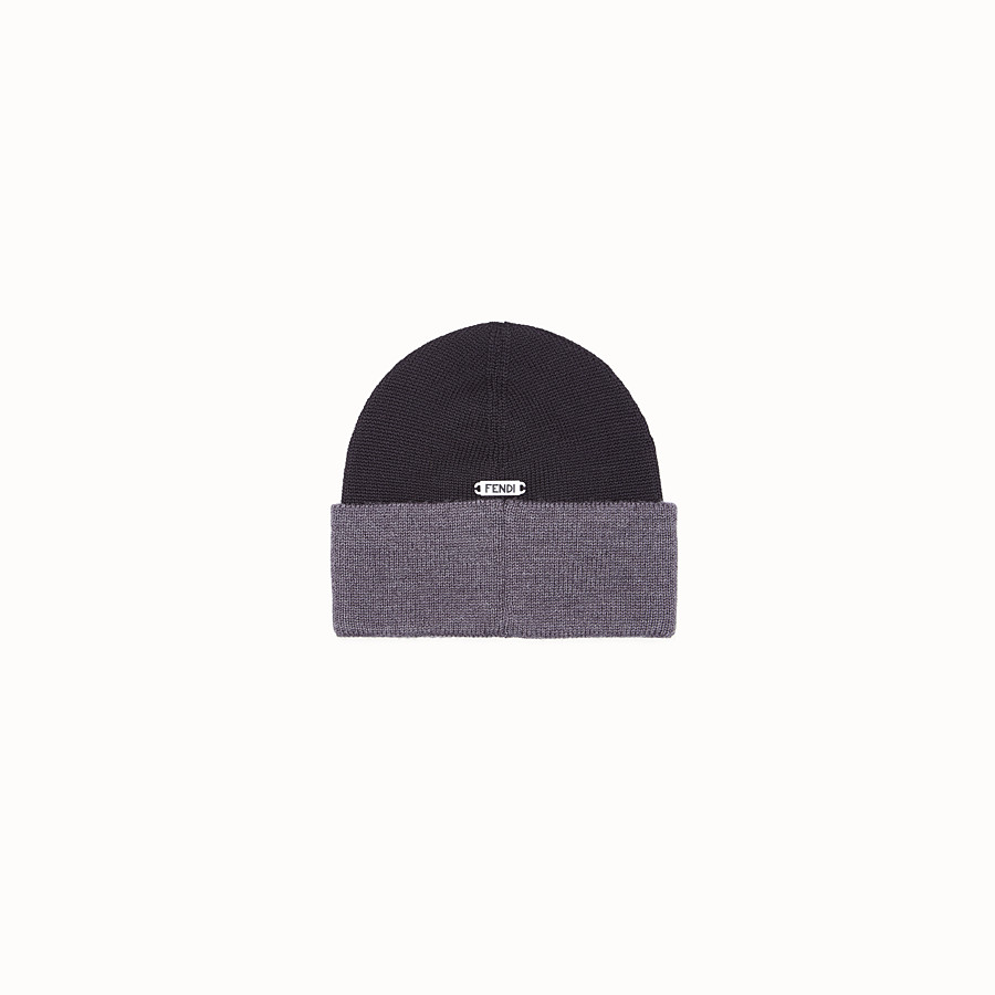 FENDI HAT - Black and grey wool hat - view 2 detail