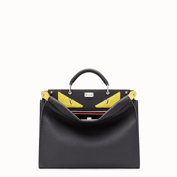 FENDI PEEKABOO ICONIC FIT - Black Roman leather bag with exotic leather details - view 1 small thumbnail