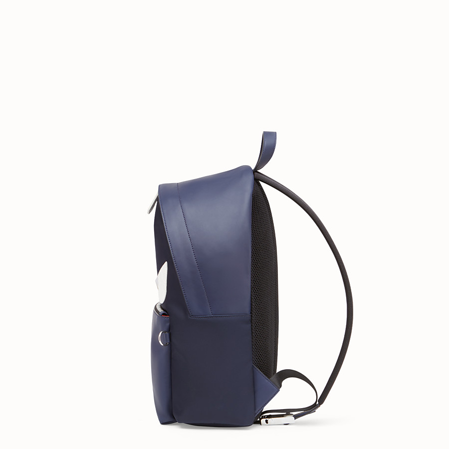 FENDI BACKPACK - Blue nylon and leather backpack - view 2 detail