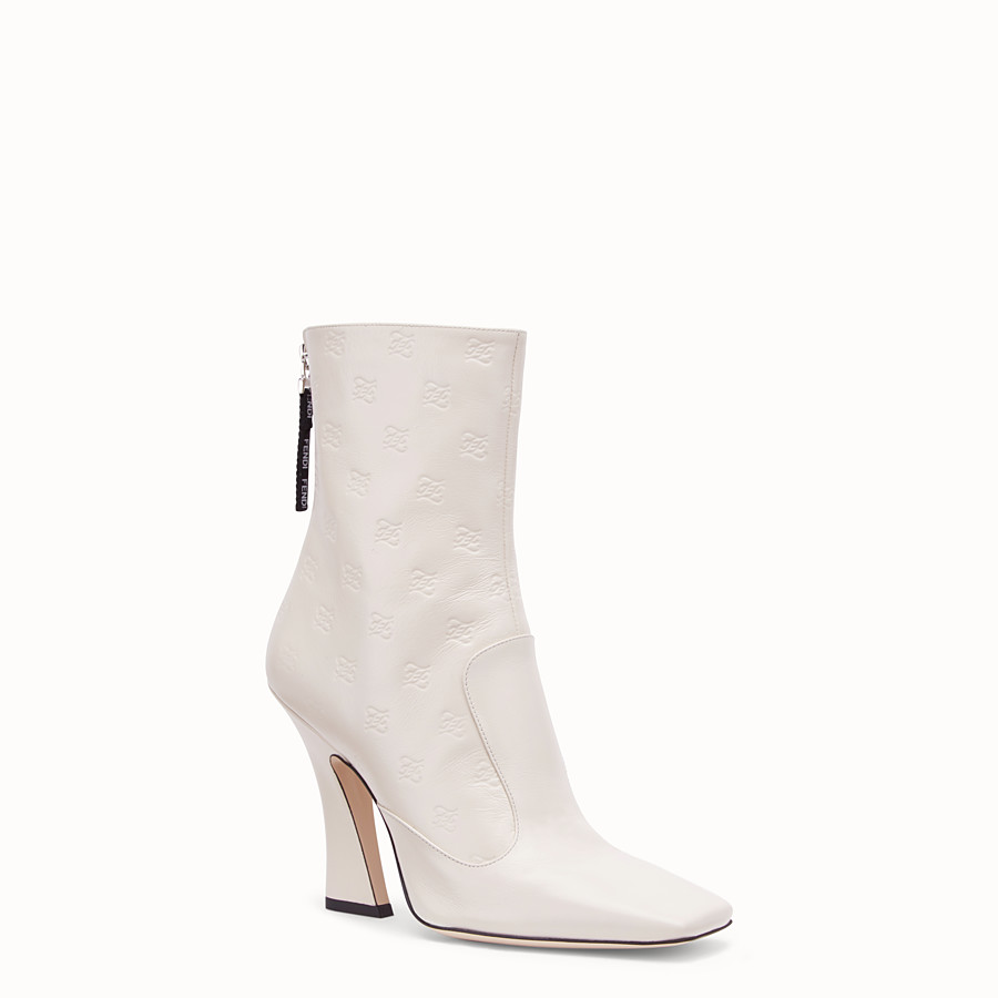 FENDI BOOTS - White leather booties - view 2 detail