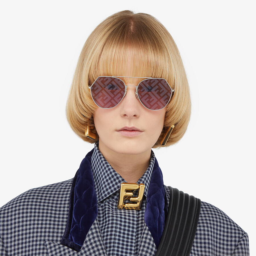 FENDI EYELINE - Palladium-colored sunglasses - view 4 detail