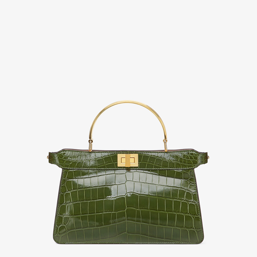 FENDI PEEKABOO I SEE U EAST-WEST - Green crocodile bag - view 1 detail