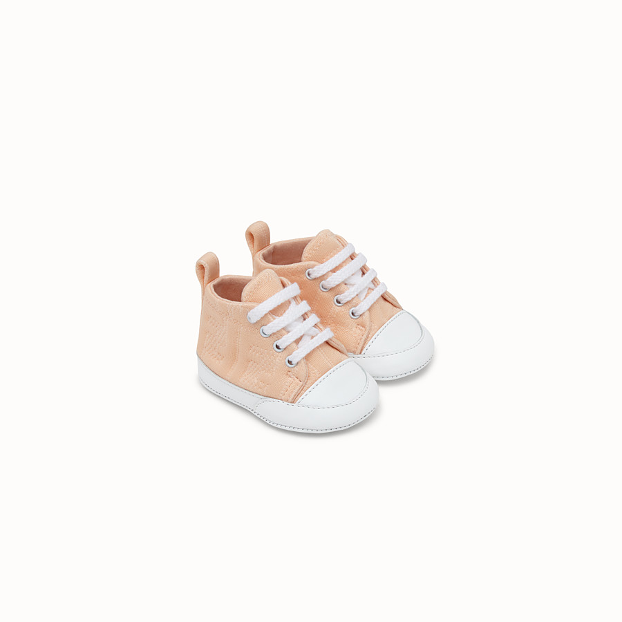FENDI SNEAKERS - Marzipan colour cotton baby sneakers - view 1 detail