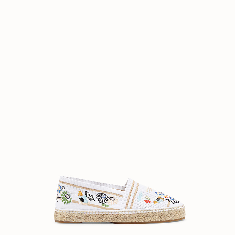 FENDI ESPADRILLES - White fabric espadrilles - view 1 detail
