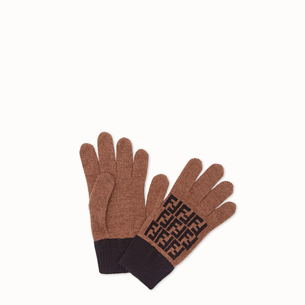 FENDI GLOVES - Brown wool gloves - view 1 small thumbnail