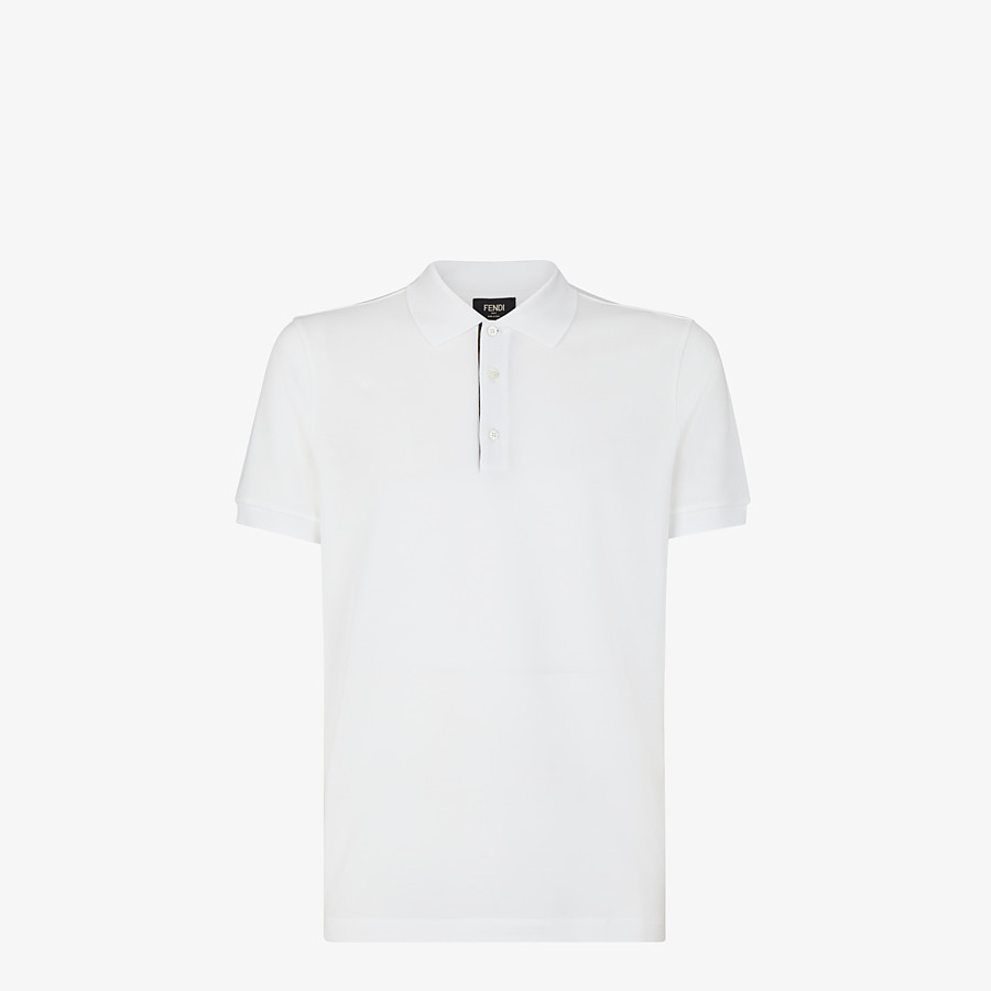 FENDI POLO SHIRT - White piqué polo shirt - view 1 detail