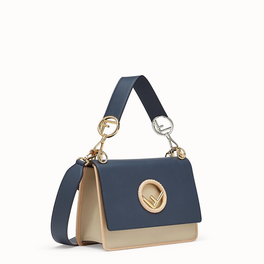 FENDI KAN I F - Pale blue leather bag with exotic details - view 2 detail