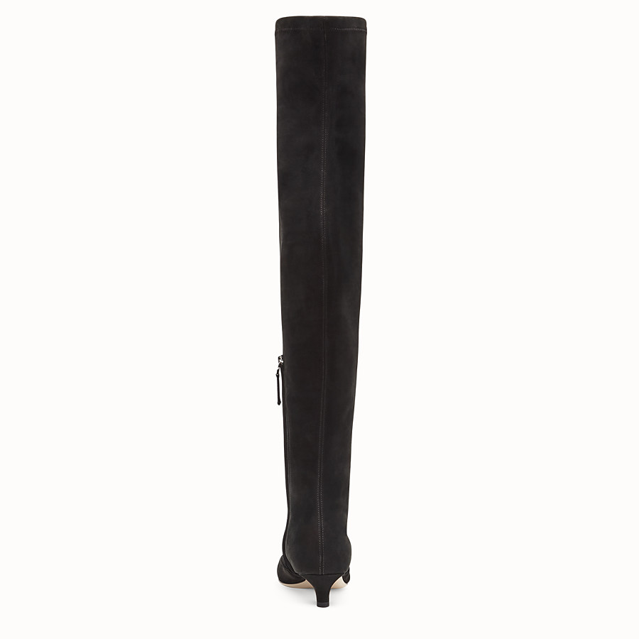 FENDI BOOTS - Black nubuck thigh-high boots - view 3 detail