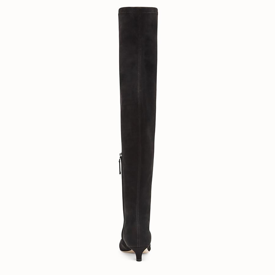 FENDI BOOTS - Black nubuck thigh-high boots - view 3 detail