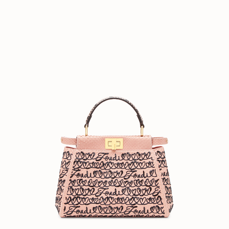 FENDI PEEKABOO MINI - Pink python leather bag - view 1 detail