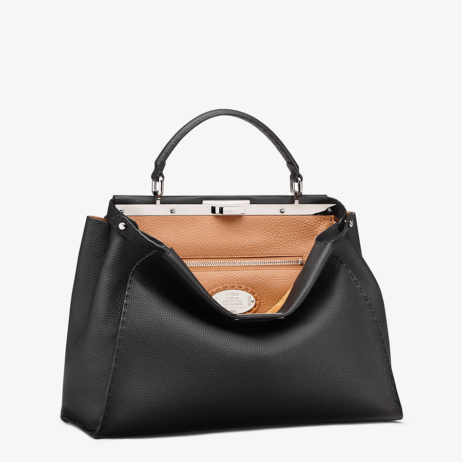 FENDI PEEKABOO ICONIC LARGE - Black leather handbag - view 3 detail