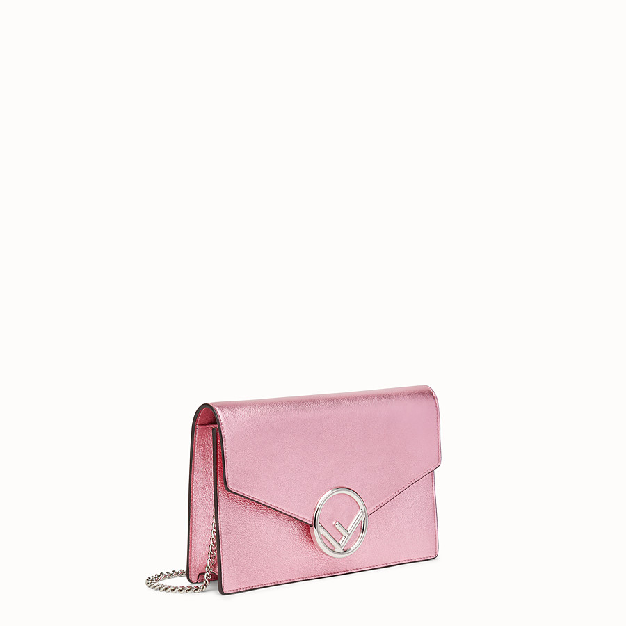 FENDI WALLET ON CHAIN - Pink leather mini-bag - view 2 detail