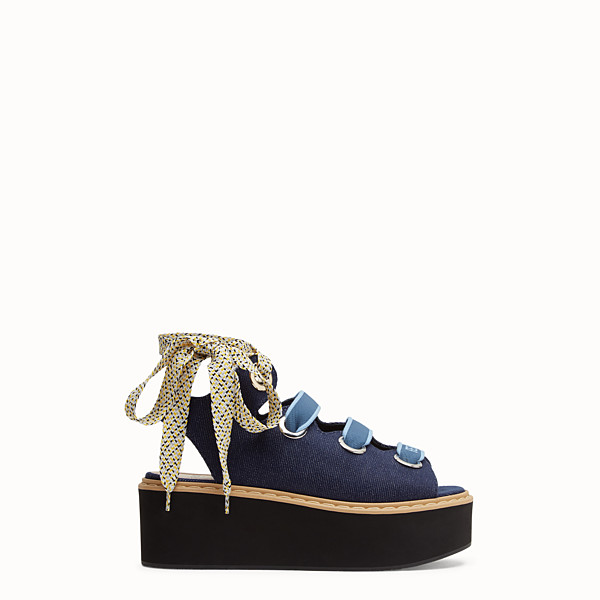 FENDI FLATFORM - Flatform in denim - vista 1 thumbnail piccola