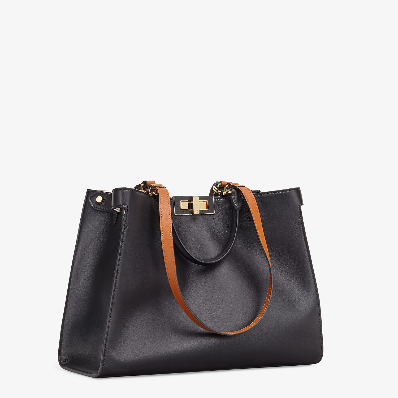 FENDI SMALL PEEKABOO X-TOTE - Black leather bag - view 3 detail