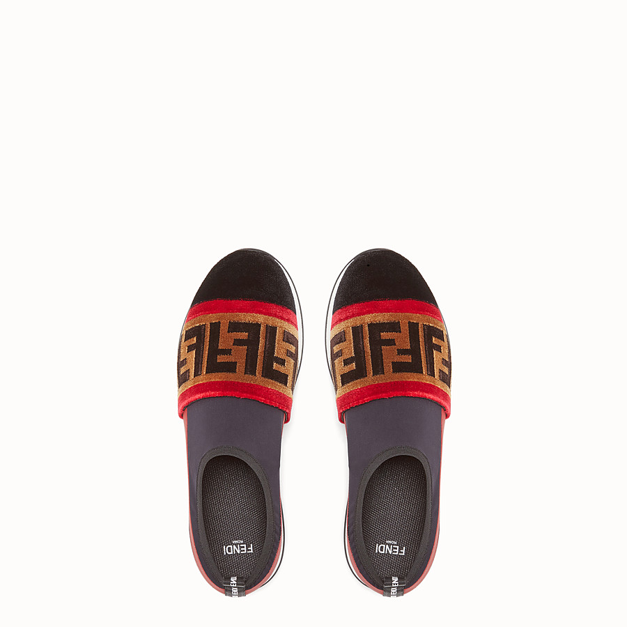 FENDI SNEAKERS - Black tech fabric slip-ons - view 4 detail