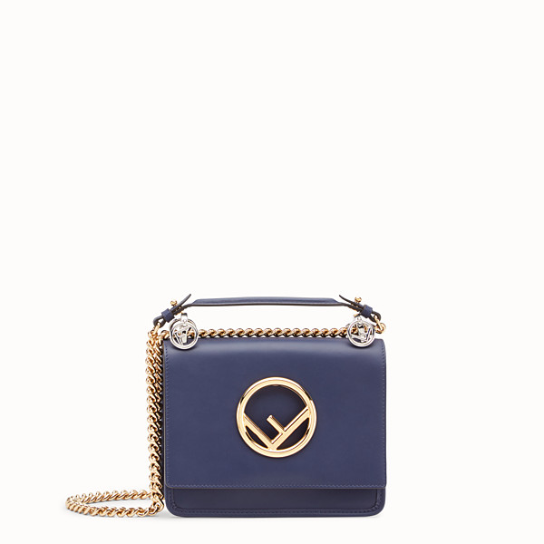 FENDI KAN I LOGO PICCOLA - Minibag in pelle blu - vista 1 thumbnail piccola