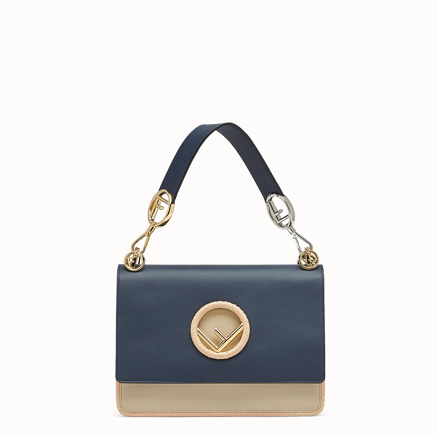 FENDI KAN I F - Pale blue leather bag with exotic details - view 1 detail