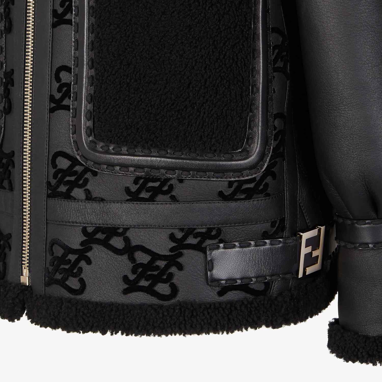 FENDI JACKET - Black shearling jacket - view 3 detail
