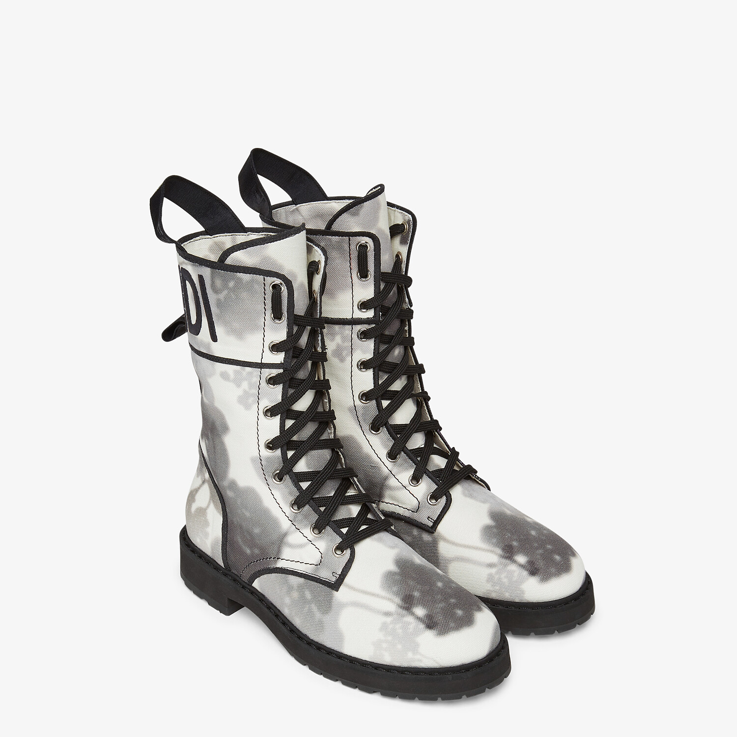 FENDI SIGNATURE BIKER BOOTS - Gray canvas boots - view 4 detail