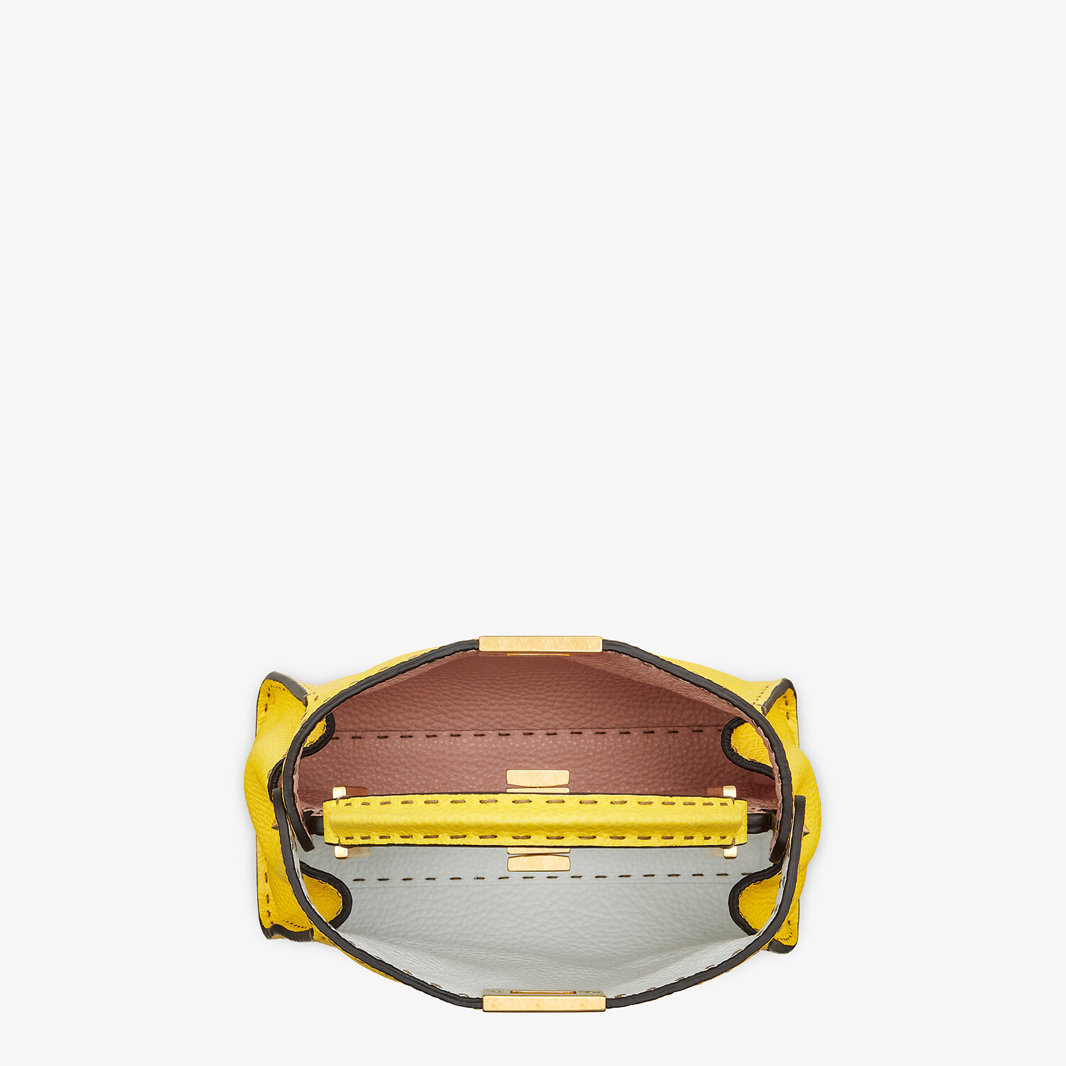 FENDI PEEKABOO ICONIC ESSENTIALLY - Yellow Cuoio Romano leather bag - view 5 detail