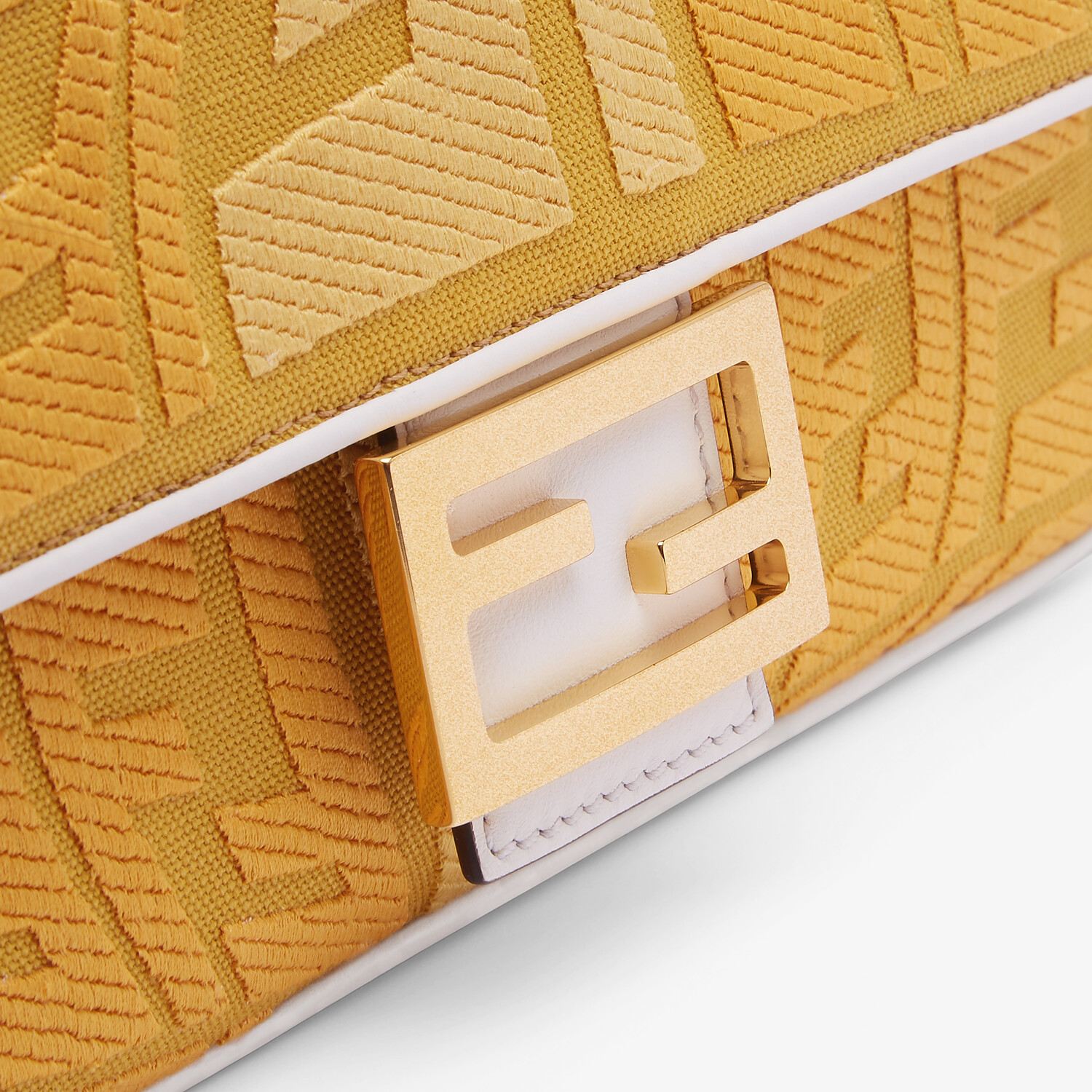 FENDI BAGUETTE - Embroidered yellow canvas bag - view 5 detail