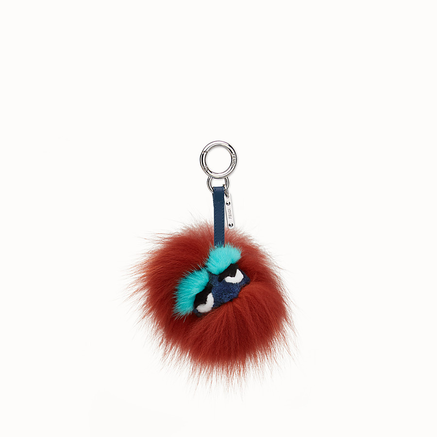 FENDI MINI EYE KEY CHARM - in fur in shades of red - view 1 detail