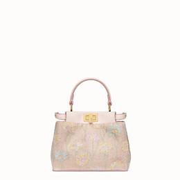 FENDI PEEKABOO ICONIC XS - Mini bag with pink embroidery decoration - view 1 thumbnail