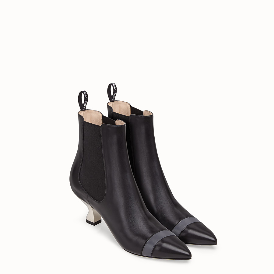 FENDI BOOTS - Booties in black leather - view 4 detail