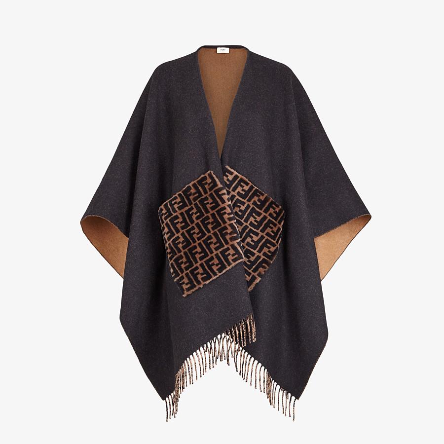 FENDI PONCHO - Black cashmere and wool poncho - view 1 detail