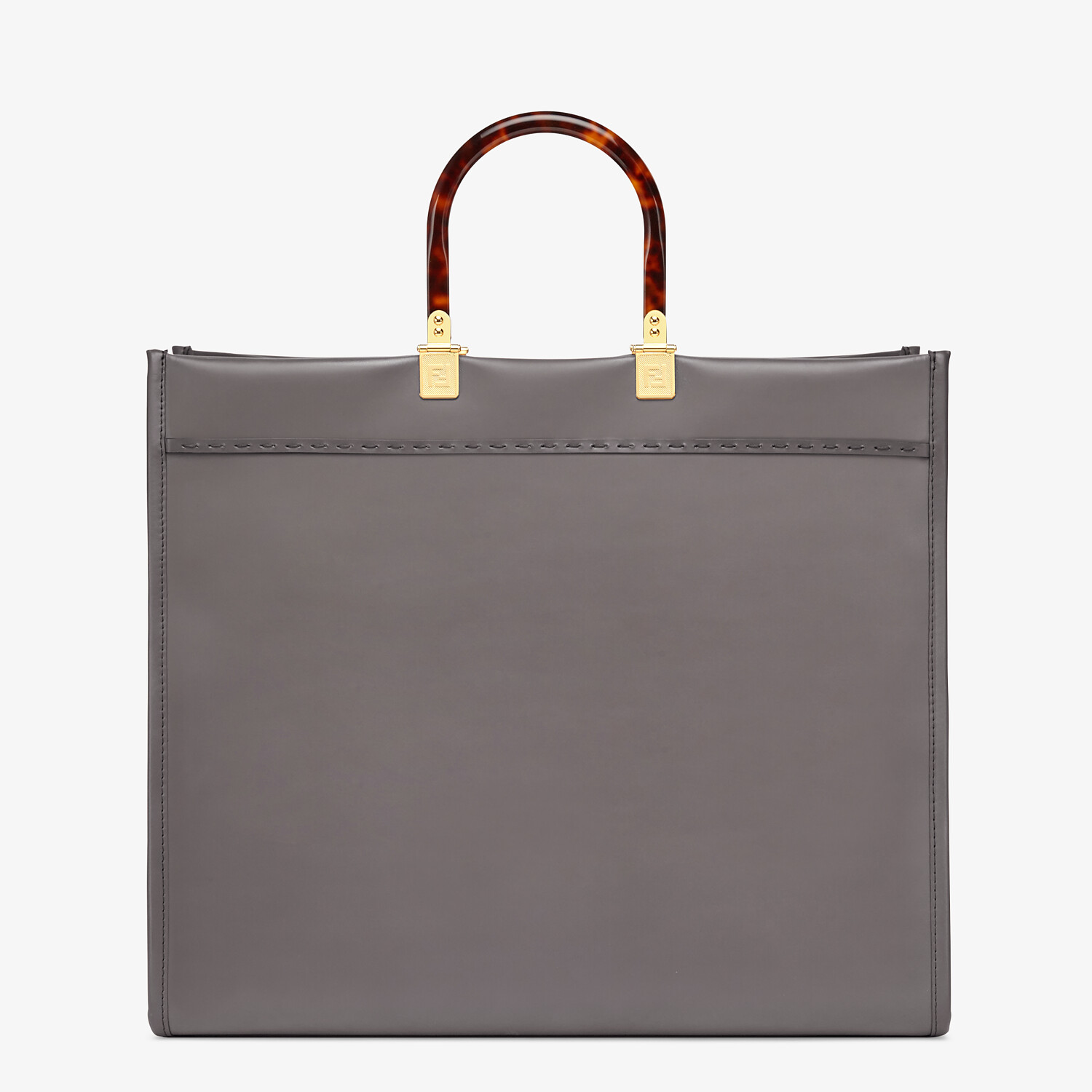 FENDI SUNSHINE SHOPPER - Gray leather shopper - view 3 detail