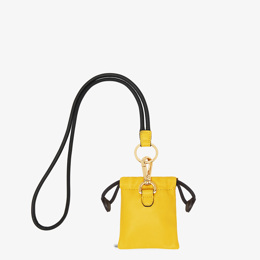 FENDI CHARM WITH DRAWSTRING - Yellow nappa leather charm - view 2 detail