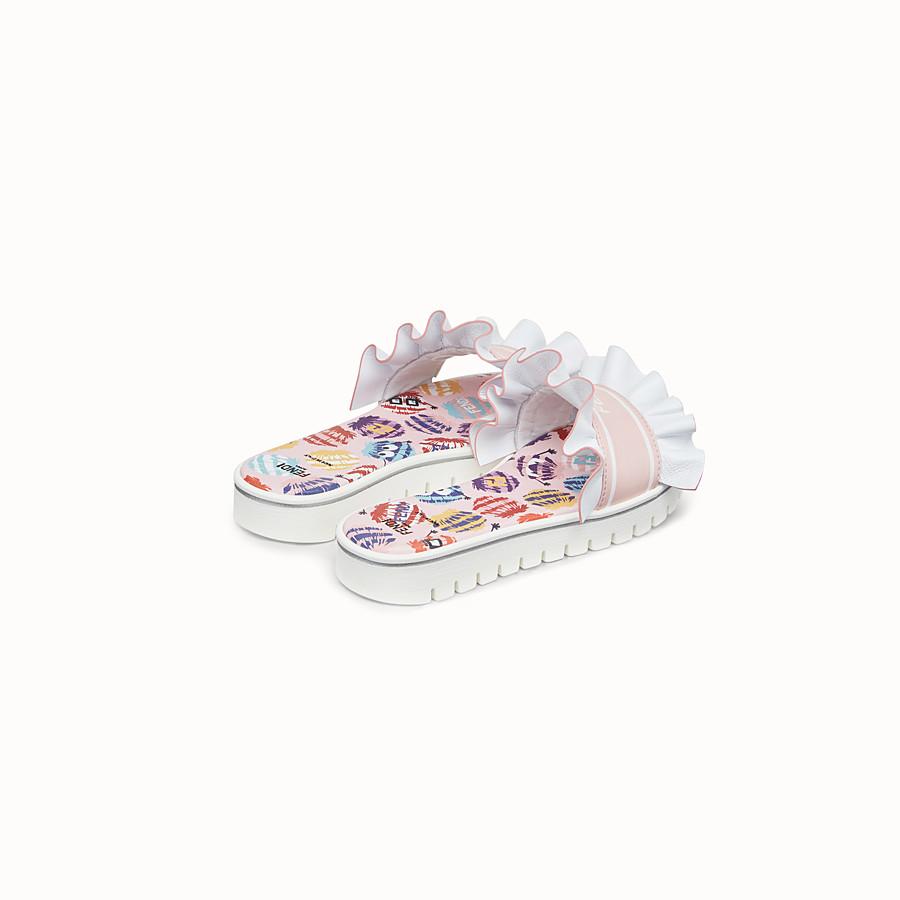 FENDI SLIPPER - Sandalo a ciabattina in nappa rosa e bianca - vista 3 dettaglio