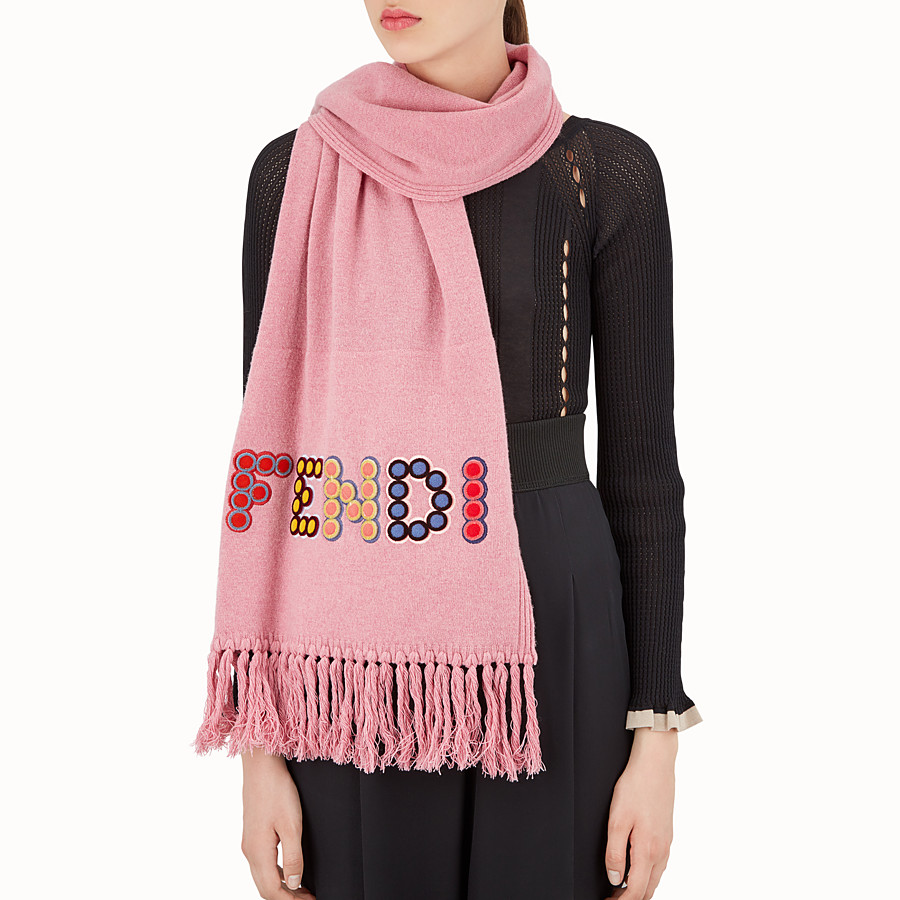 FENDI FUN FAIR SCARF - Pink wool and cashmere scarf - view 3 detail