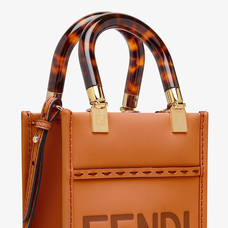 FENDI MINI SUNSHINE SHOPPER - Dark brown leather mini-bag - view 6 detail