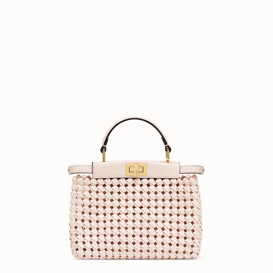 FENDI PEEKABOO ICONIC MINI - Sac en cuir rose tressé - view 1 detail