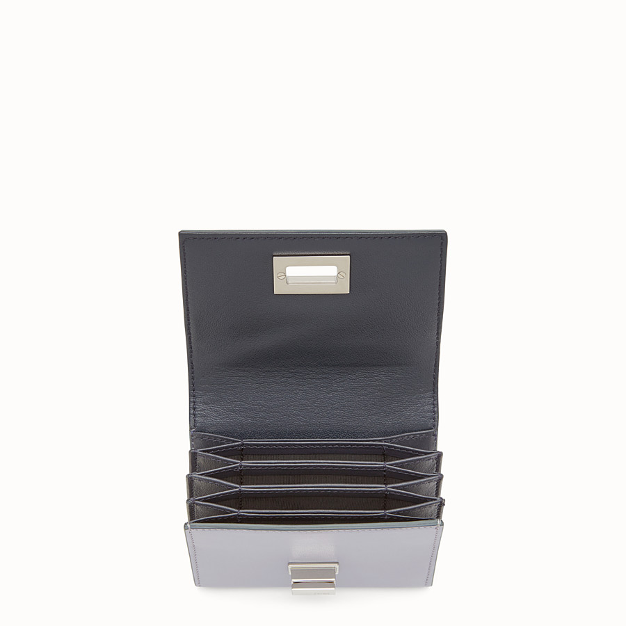 FENDI CARD HOLDER - Mini wallet in grey leather - view 4 detail