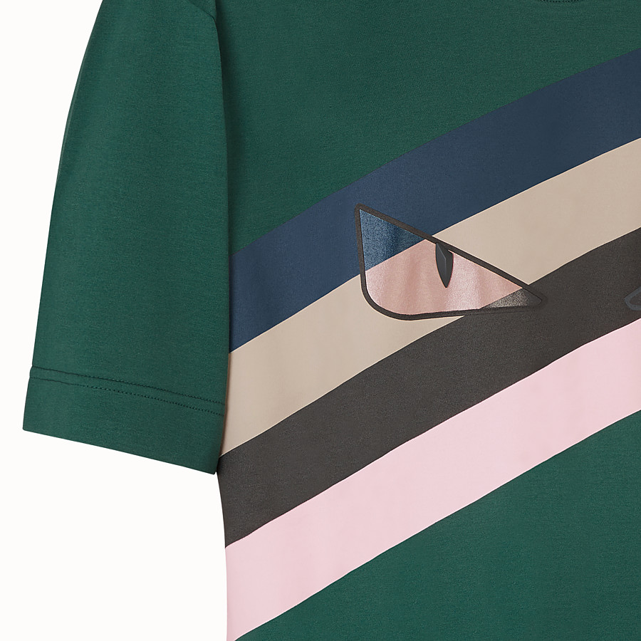 FENDI T-SHIRT - Green cotton T-shirt - view 3 detail