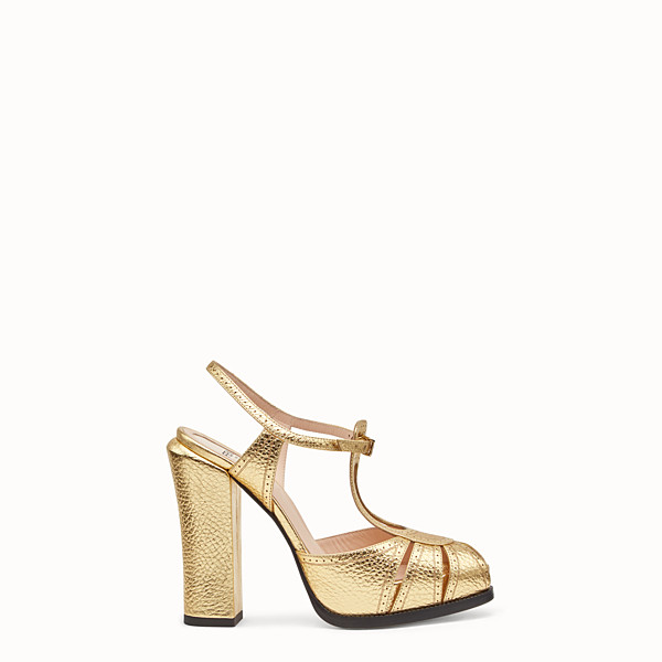 FENDI SANDALS - Gold laminated leather sandals - view 1 small thumbnail